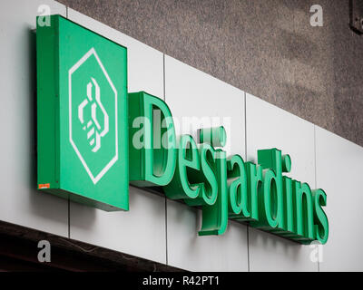 MONTREAL, CANADA - NOVEMBER 5, 2018: Desjardins Bank logo on their main branch for Montreal, Quebec. Mouvement Desjardins Banque is one of the main ba - Stock Photo
