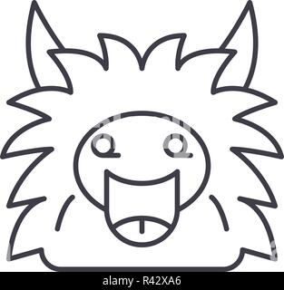 Fairy monster line icon concept. Fairy monster vector linear illustration, symbol, sign - Stock Photo