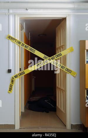 Crime scene signs - Stock Photo