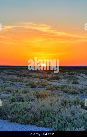 Beautiful sunset on salt lake Chott el Djerid, Sahara desert, Tu - Stock Photo
