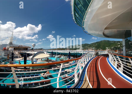 The jogging track on deck twelve of Royal Caribbean's Adventure of the Seas. - Stock Photo
