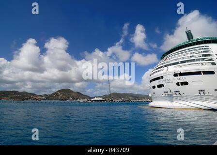 Royal Caribbean's Explorer of the Seas, docked at St. Maarten. - Stock Photo