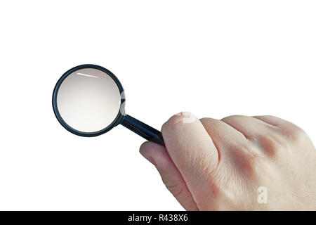 Male hand with a magnifying glass isolated on a white background. Cutout loupe in man's hand. Man uses magnifier to enlarge some object. Concept of searching for information. Detective investigation. - Stock Photo