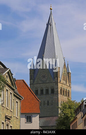 church tower of the st. patrokli cathedral in soest - Stock Photo