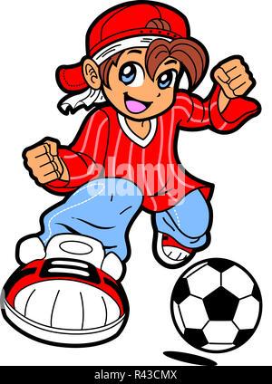 Anime Manga Soccer Player - Stock Photo