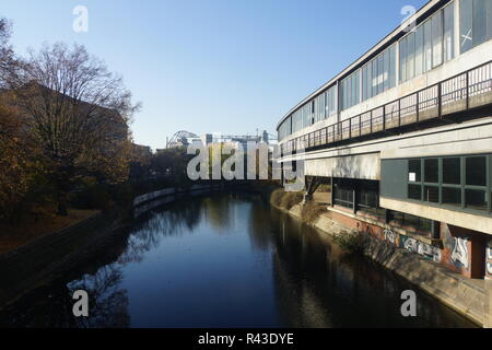 view from möckernbrücke on the spree and german museum of technology - Stock Photo