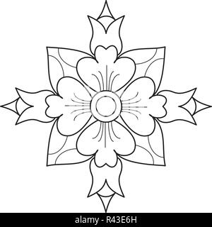 Rangoli designs: also called as Alpona, Alpana, mehndi, Kolam, Floral, Paisley, Ornamental design. with White Background vector Art - Stock Photo