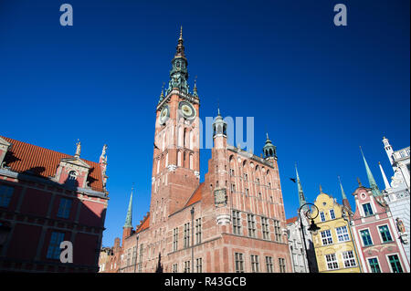 Brick gothic Ratusz Glownego Miasta (Gdansk Main Town Hall) on Dlugi Targ (Long Market) in Main City in historic centre of Gdansk, Poland. October 31s - Stock Photo