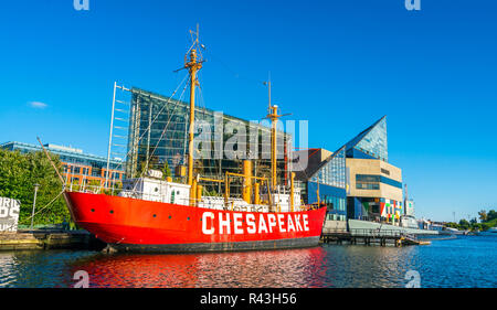 baltimore  inner harbor  on sunny day. - Stock Photo