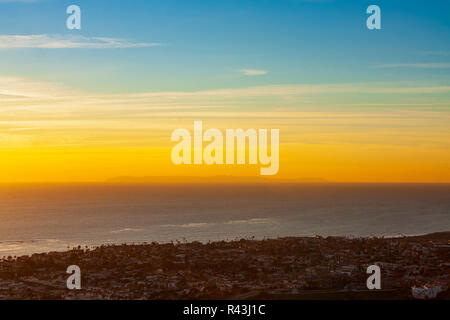 San Clemente sunset overlooking the Pacific coastline, Southern California, December 2008. - Stock Photo