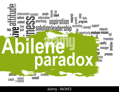 Abilene Paradox word cloud with green banner - Stock Photo