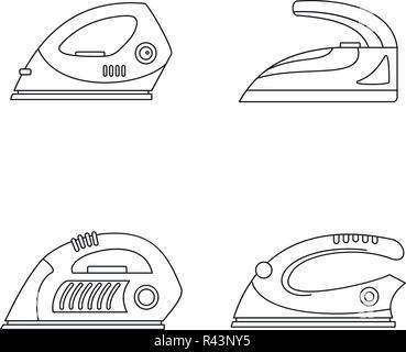 Smoothing iron drag appliance icons set. Outline illustration of 4 smoothing iron drag appliance vector icons for web - Stock Photo