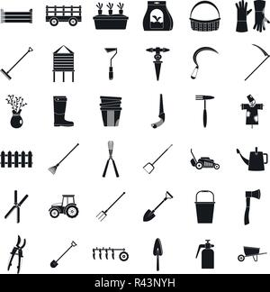 Farming equipment garden icons set. Simple illustration of 25 farming equipment garden vector icons for web - Stock Photo