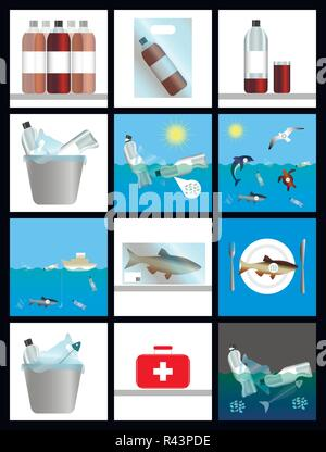 Emergence of microplastics. Harm to nature and human. History in pictures. Infographics. Plastic dishes and bags, sea, sun, animals, food, waste, medi - Stock Photo