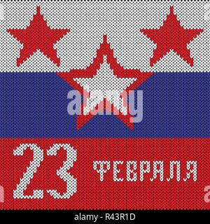 Defender of the Fatherland Day. February 23 - text in Russian. Colors of the Russian flag, red five-pointed stars. Imitation knitted fabric. Banner, i - Stock Photo