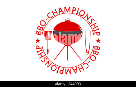 Red Barbecue Championship Logo as and Illustration. - Stock Photo