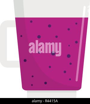 Blueberry smoothie icon. Flat illustration of blueberry smoothie vector icon for web isolated on white - Stock Photo
