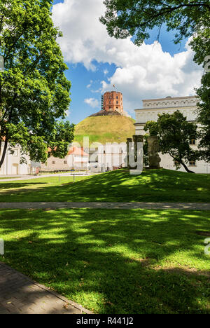 Gediminas Castle Tower hill, Vilnius, Lithuania - Stock Photo
