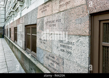 Wall of lithuanian genocide victims, Vilnius, Lithuania - Stock Photo