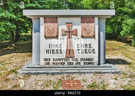 The Waffen-SS Monument is located in the park of the Palais Festetics in Deg, Enying, Fejer county, Central Transdanubia, Hungary, Europe - Stock Photo