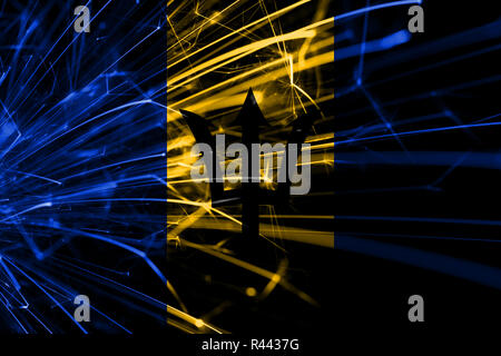 Barbados abstract fireworks sparkling flag. New Year, Christmas and National day concept - Stock Photo