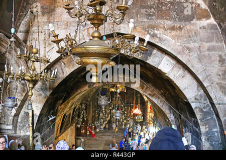 JERUSALEM, ISRAEL - SEPTEMBER 20, 2017: Lamps in church of the Sepulchre of Saint Mary also Tomb of the Virgin in Kidron Valley - Stock Photo