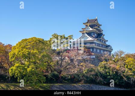 Donjon Tower (tenshu) of Okayama Castle in japan - Stock Photo