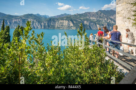 View of Lake Garda from castle walls of Malcesine, Verona, Italy. The Scaliger Castle is situated along the picturesque coastline