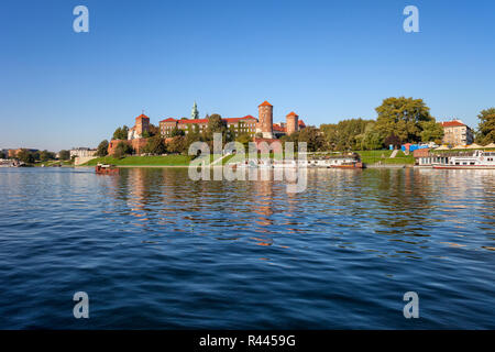 Vistula River and Wawel Royal Castle in city of Krakow in Poland - Stock Photo