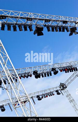 Spotlights on stage - Stock Photo