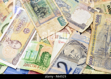 Cash money from different countries background - Stock Photo
