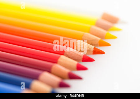Group of Colourful pencils isolated on white - Stock Photo