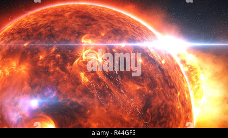 Earth burning or exploding after a global disaster, apocalyptic scenario - Stock Photo