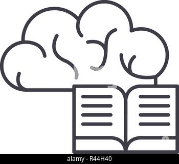 Intellectual information line icon concept. Intellectual information vector linear illustration, symbol, sign - Stock Photo