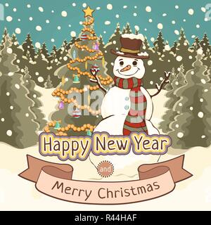 Merry Christmas and Happy New Year card, poster, banner, cartoon colorful drawing, vector illustration, holiday background. Cute snowman with decorate - Stock Photo