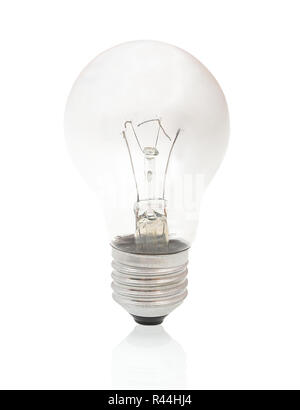 Burned-out light bulb isolated on white background with shadow reflection. Burned light bulb on white backdrop. Burned incandescent light bulb. - Stock Photo