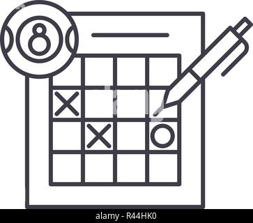 Lottery line icon concept. Lottery vector linear illustration, symbol, sign - Stock Photo