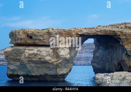 Rock formation called 'Azure Window' on Maltese island of Gozo. This rock formation was destroyed during a storm in 2017. - Stock Photo
