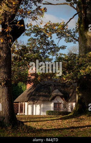 Tranquil Autumn landscape with traditional Irish cottage house with red chimney and thatched roof. Killarney National Park, County Kerry, Ireland. - Stock Photo