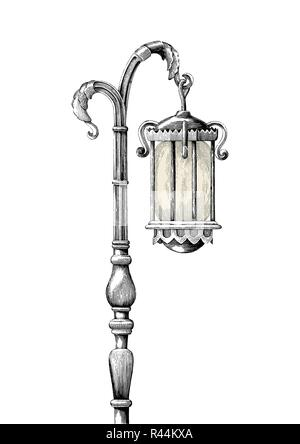 Vintage lamp post hand drawing engraving illustration on white background - Stock Photo