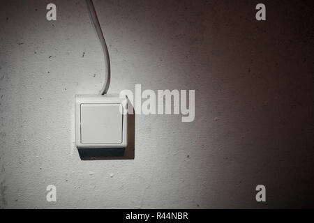 White light switch, turn on or turn off the lights - Stock Photo
