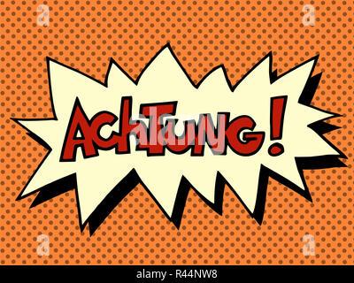 Achtung warning German language - Stock Photo