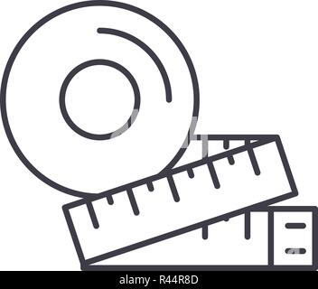 Measurement of the figure line icon concept. Measurement of the figure vector linear illustration, symbol, sign - Stock Photo