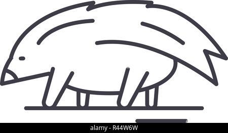 Porcupine line icon concept. Porcupine vector linear illustration, symbol, sign - Stock Photo