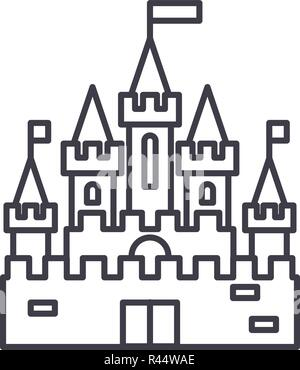 Princess castle line icon concept. Princess castle vector linear illustration, symbol, sign - Stock Photo
