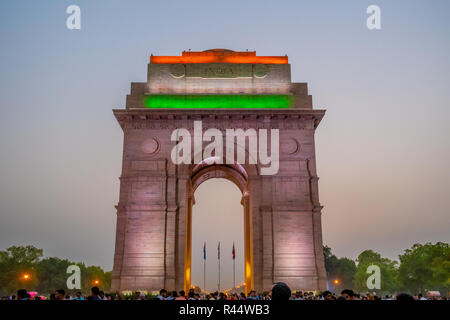 India Gate and the Flags of three Armed Forces of India- after the sunset view - Stock Photo
