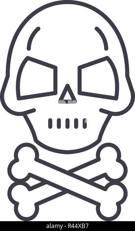 Skull with bones line icon concept. Skull with bones vector linear illustration, symbol, sign - Stock Photo