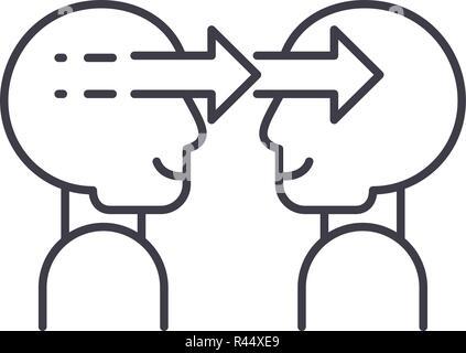Social manipulation line icon concept. Social manipulation vector linear illustration, symbol, sign - Stock Photo