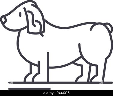 Spaniel line icon concept. Spaniel vector linear illustration, symbol, sign - Stock Photo