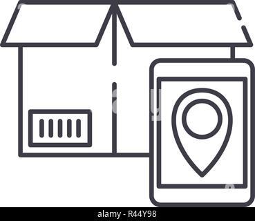 Tracking number line icon concept. Tracking number vector linear illustration, symbol, sign - Stock Photo